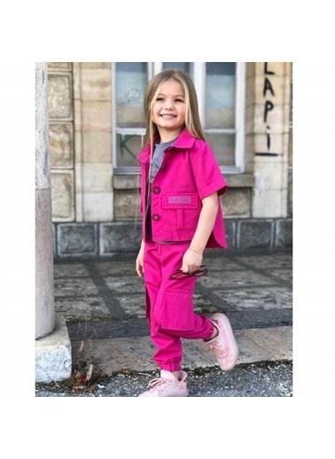 Quzucuk Kids Kız Çocuk Cep Detaylı Fuşya Ceketli Takım Fuşya